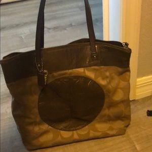 Brown large coach shoulder bag